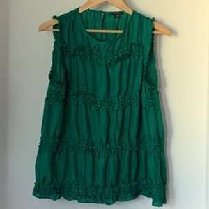 Like New Theory Green Emerald Top 100% Silk, Sz L